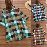 ZANZEA Women Plus Size Summer Top Tee T Shirt Plaid Check Short Sleeve Blouse