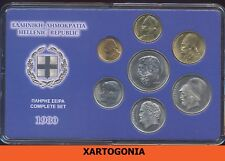 GREECE COINS 1980, COMPLETE SET in case, UNC