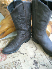 Vtg OLD WEST Brown Leather Cowboy Boots Sz 11 EE Triple Stitched TBM5031