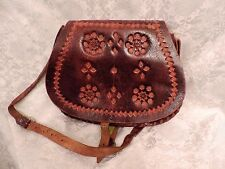 SAC  BESACE CUIR MARRON ARTISANAT ANNEES 70  / VINTAGE LEATHER  BAG