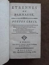 ETRENNES DU PARNASSE. POETES GRECS. FETIL.1772