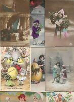 Mixed Lot Victorian Style Kids Vintage Kids Flowers Postcard Lot of 20 01.17