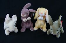 Lot of 4 TY NIBBLER SPRINGY NIBBLY GRACE Rabbits Beanie Baby Bean Bag Plush Tags