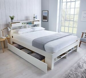 Fabulous Wooden Bed White Storage Bed Drawers With Book Shelves With Mattress