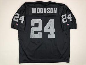 Vintage Oakland Raiders Charles Woodson Jersey Champion Size 48 Black 90s NFL