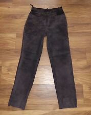 SUPER Brown  leather suede straight leg Trousers  UK 14  L33