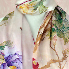 100% Silk Scarf Genuine Real Pure Mulberry Floral Pink Long Shawl Wrap Stole New