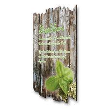Basilikum Kräuter Gewürz Bild Shabby aus Holz Wand Deko für Küche 30x20cm