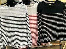 Ladies NWT SPORTSCRAFT 'Willow' Stripe Full Length Cotton Tshirt Top