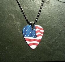 Usa America Flag Guitar Pick Dog Tag Style Necklace Pendant Charm Gift Present