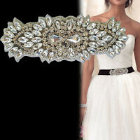 Bridal Trim Silver Diamante Motif Sew Iron On Crystal Applique Patch Party Dress