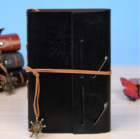 Black Nautical Travel Retro Vintage Leather Notebook Kraft Blank Diary Journal