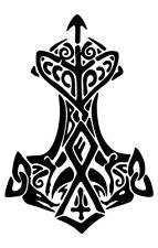"Thor's hammer vinyl decal sticker car window bumper Black 8"" x 5"" anchor tribal"