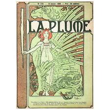 La Plume by Alphonse Mucha Deco Magnet 1897 Magazine Cover Art Fridge Magnet