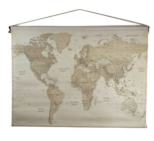 """Tapestry Canvas Hanging Wall Decor World Map Large 46"""" x 34"""""""