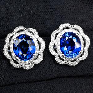 SAPPHIRE KASHMIR BLUE OVAL 9.40 CT. 925 STERLING SILVER STUD EARRINGS JEWELRY