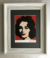 ANDY WARHOL + 1984 SIGNED LIZ TAYLOR MATTED TO BE FRAMED AT 11X14