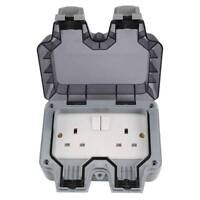 2 Gang Twin Switched Double Socket IP66 Weatherproof Outdoor 13A Outside UK