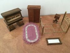 Set of Doll House Bedroom Furniture: Bed Roll Top Desk Mirror Armoire Side Table