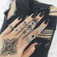 10pcs Boho Yoga Yinyang Finger Knuckle Ring Band Midi Stacking Rings Set Gift