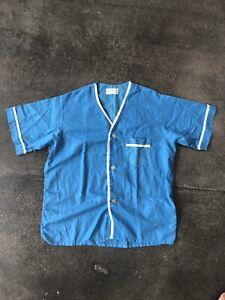Men's Vintage Turquoise Seersucker Pajama Top 60s 70s