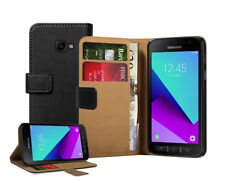 Wallet BLACK Leather Flip Case Cover For Samsung Galaxy Xcover 4 + 2 Protectors