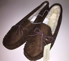 """SONOMA LIFE+STYLE Women's Faux Microsuede Moccasin Slippers""""BROWN""""Size M(7-8)NWT"""