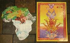 Golden Puzzles The Lion King- 100 Pc Africa Shaped & 63 Pc Animal Tower Vtg 90's