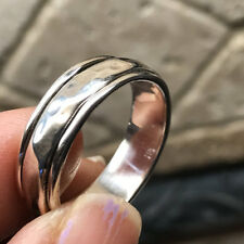 Textured spinner Hammered spinner band 925 Sterling Silver Band Unisex Ring Sz 6