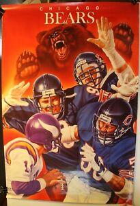 "1988 Chicago Bears 24 x 36"" Brown Art Poster NFL Defense Vikings"