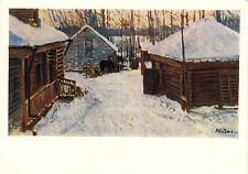 1959 Russian card WINTER SCENE IN THE VILLAGE by M.K.Klodt