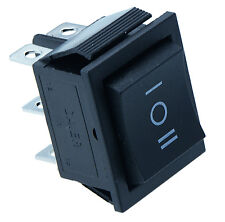 On/off/on Grande Negro Rectángulo Rocker Switch coche DASH 6 Pines Dpdt 12v