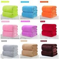 Super Soft Solid Warm Micro Plush Fleece Blanket Throw Rug Sofa Bedding /bw