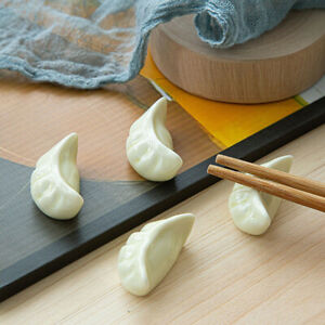 2Pcs Dumplings Ceramic Chopstick Rest Holder Spoon Fork Rack Dining Tableware