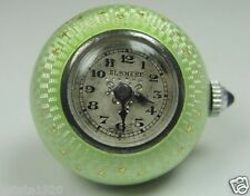 Edwardian Guilloche Enamel Elsmere Silver Ball Pocket Watch Necklace 15 Jewels