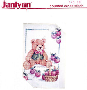 SALE! Teddy Bear With Basket of Apples Janlynn Counted Cross Stitch Kit +FRAME
