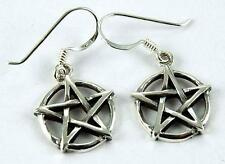 SALE **BEAUTIFUL SOLID SILVER PENTAGRAM EARRINGS**