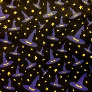 NEW! PolyCotton Fabric Halloween Spooky Witch Hat Star Purple Black  Material