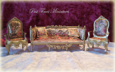 Dolls House Sofa & Chairs Printed Silk French Design Tapestry Royals in the Park