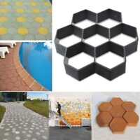 7 Grid Plastic Driveway Concrete Stone Mold Paving Pathway Stepping Stone Mould