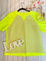 Ted baker Size 3 UK 12 neon highlighter yellow short sleeve Karlis boxy t shirt