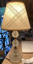 Vintage Crystal Ball Tiered Lamp With Lampshade Works Great Rare