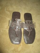 TORY BURCH GRIER BROWN LEATHER THONG FLIP FLOP SHOES 8.5 9 NEW LQQK!