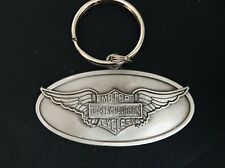 PEWTER HARLEY-DAVIDSON MOTORCYCLE OLD WINGS BIKER SILVER METAL KEYCHAIN