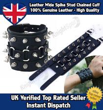 Genuine Leather Extra Wide Spiked Cuff Bracelet Goth Punk Rocker Surf Unisex