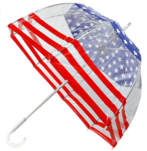 Totes Signature American Flag Bubble Umbrella - Manual Open, One Size