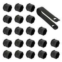 Black 19mm Car Plastic Caps Bolts Head Covers Nuts Alloy Wheel Matte 20pcs