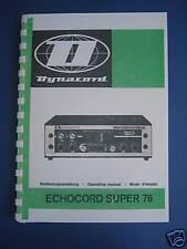 DYNACORD ECHOCORD Super 76 Manual Rare