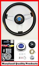 "1960-1969 Chevrolet C10 K10 Pick Up Steering Wheel 13 3/4"" Shallow Blue Cap"