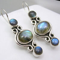 925 Solid Silver NATURAL BLUE FIRE LABRADORITE GEMSTONE HANDCRAFTED Earrings